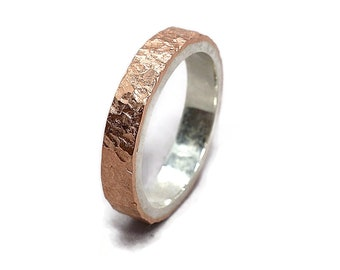 Meteorite Copper and Silver Wedding Band Ring Meteorite Rustic Copper Wedding Band Ring Lunar Rustic Copper Ring. Polished Ring 4mm