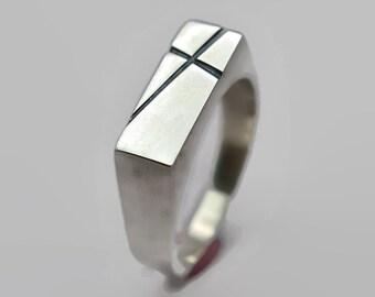 Mens Cross Silver Ring Custom Cross Ring Personalized Cross Ring Signet Silver Ring Polished Cross Ring for Men Gift for Him