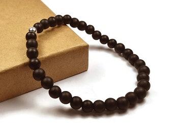 Mens Beaded Matte Black Onyx Bracelet. 6mm Matte Black Onyx Beads. Black Bracelet