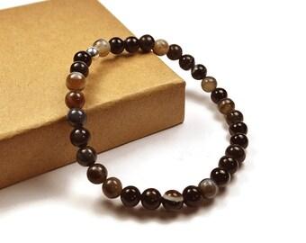 Mens Beaded Black Line Agate Bracelet. 6mm Black Line Agate Beads. Black Brown Bracelet