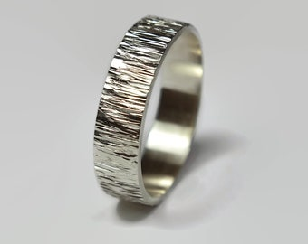 Mens Rustic Tree Bark Wedding Band Ring Sterling Silver, Matte Wood Grain finished, Wood Grain Textured, Flat Shape 6mm