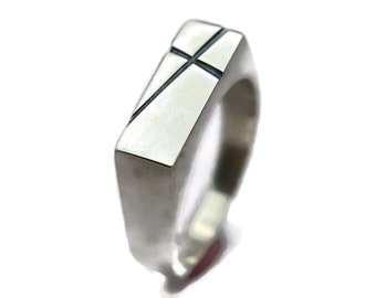 Mens Cross Silver Ring Custom Cross Ring Personalized Cross Ring Signet Silver Ring Polished Cross Ring for Men Gift for Dad