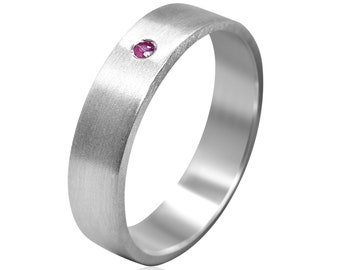 Men's Ruby Band Ring, Ruby Band Ring Silver, Men's Band Ring With Ruby, Gift For Him, Matte Ring 6mm