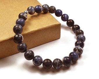 Mens Beaded Sodalite Bracelet. 8mm Sodalite Beads. Blue Bracelet