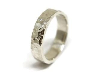 Meteorite Sterling Silver Wedding Ring. Rustic Moon Sterling Silver Wedding Band. Free Engraving Ring. Custom Ring Silver. Polished Ring 4mm