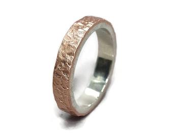 Meteorite Matte Copper&Silver Wedding Band Ring Moon Rustic Copper Wedding Ring Meteorite Rustic Copper Wedding Band Ring. Matte Ring 4mm