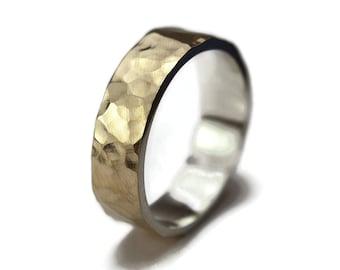 Mens Hammered Gold Wedding Band Ring, Hammered Gold Wedding Band for Men, Hammered Gold Wedding Band Ring, Gold Wedding Ring, Polished 6mm