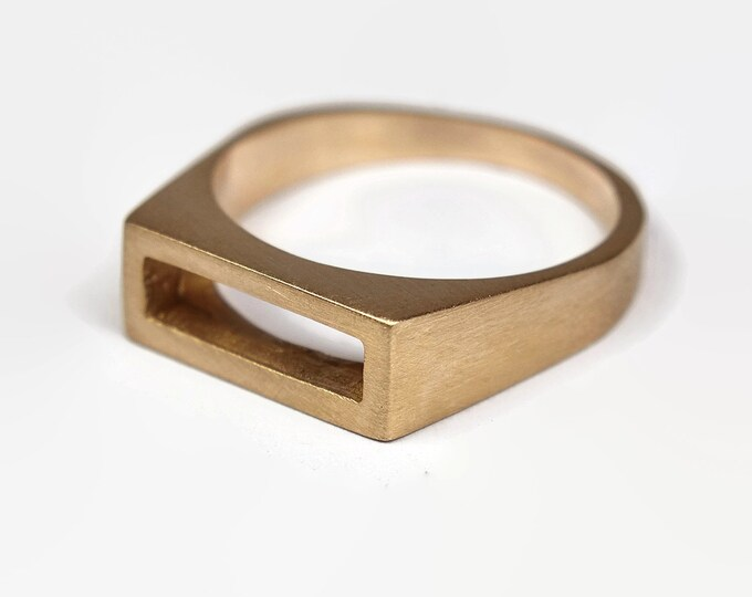 Mens Matte Brass Promise Ring. Unisex Matte Brass Ring. Classic Style. Wide 8mm, Valentines Day Unique Gift
