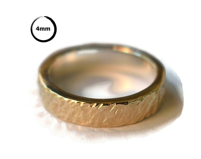 Mens Rustic Gold Wedding Band Ring. Mens Meteorite Gold&Silver Wedding Band Ring. Gold Meteorite Wedding Ring Polished 4mm