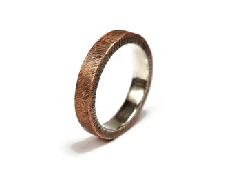 Antique Copper Wedding Band, Unisex Copper Wedding Band, Antique Copper&Silver Wedding Band Ring. Antique Oxidized Ring 4mm