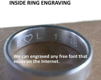 Profesional Engraving Inside Wedding Band Ring. Customize Engraving Inside Ring