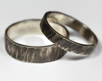 Dark Silver Wedding Band Ring Set for Couples. Rustic Antique Style. Dark Oxidized finished. Tree Bark Texture, Flat Shape 4mm and 6mm