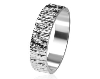 Silver Tree Bark Ring. Silver Nature Wedding Band Ring. Men's Rustic Wedding Ring. Silver Rustic Ring Free Engraving. Polished Ring 6mm
