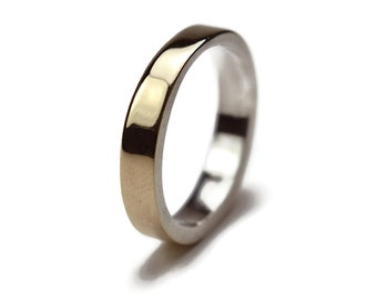 Simple Gold&Sterling Silver Wedding Ring. Thin Fit Band Men's Wedding Ring Gold. Custom Gold Ring. Ring Polished 4mm
