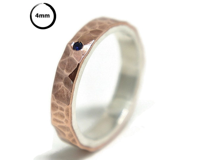 Blue Sapphire Hammered Silver Copper Wedding Band Ring Rustic. Birthstone September Anniversary