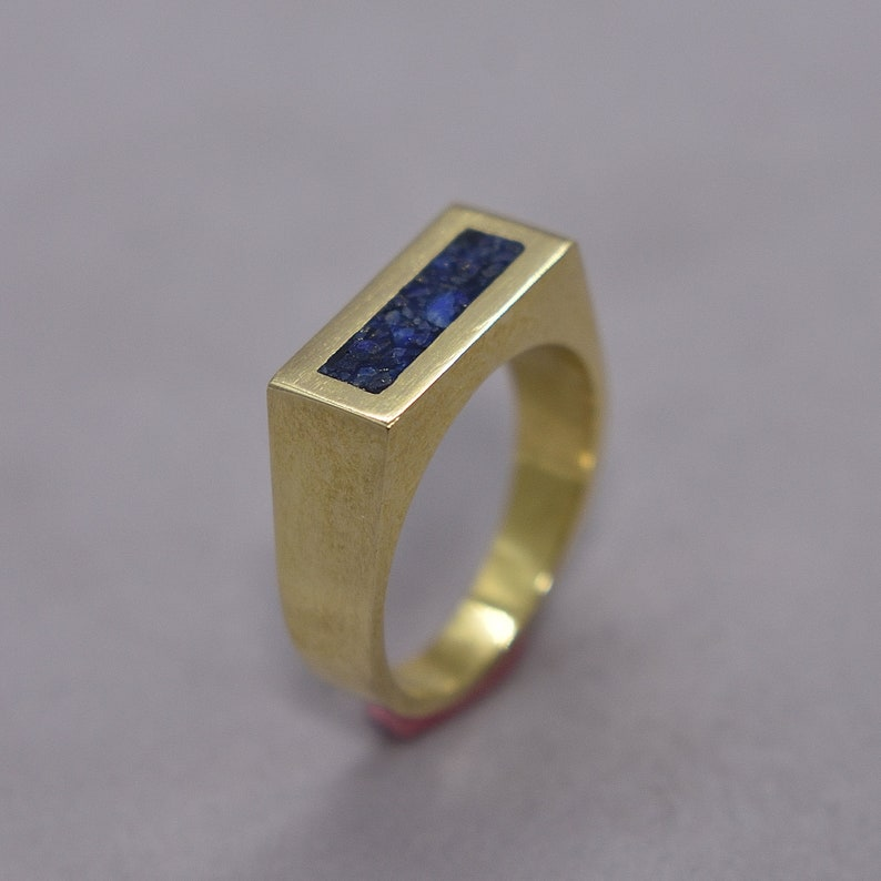 Men's Lapis Lazuli and Brass Geometric Ring Modern Lapis image 0