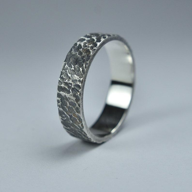 Antique Meteorite Silver Wedding Ring. Men's Antique Moon image 0