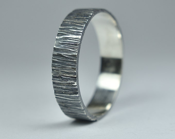 Antique Silver Wedding Band. Rustic Silver Ring. Nature Silver Wedding Ring. Tree Bark Silver Ring