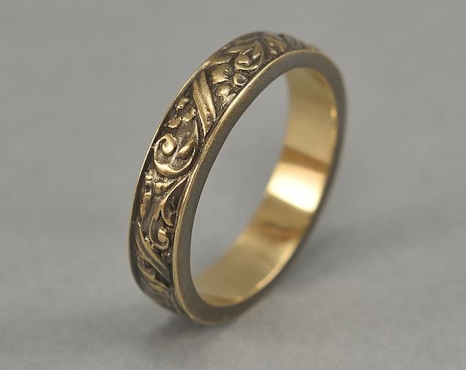 Antique Floral Brass Wedding Band. Vintage Brass Art Nouveau Ring. Art Deco Floral Brass Ring. Antique Finish
