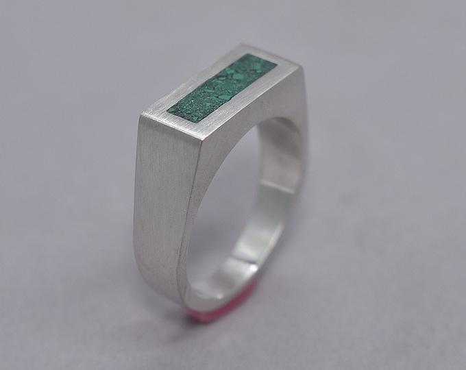 Unique Malachite and Silver Ring Men, Men's Green Malachite and Sterling Silver Geometric Ring, Malachite Inlay Ring Matte finish
