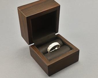 Elegant Wood Ring Box. Natural Walnut Wood Ring Box