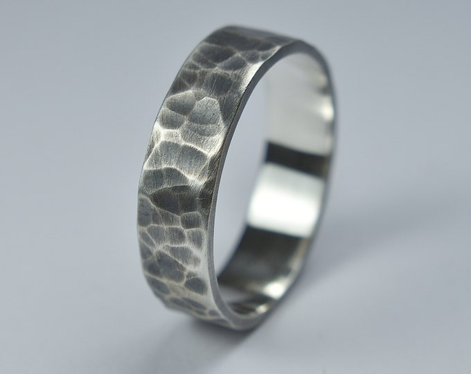 Men's Antique Silver Wedding Band Ring. Antique Hammered Silver Wedding Ring. Hammered Rustic Silver Ring. Oxidized Ring 6mm