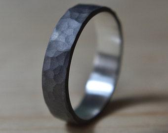 6mm Mens Black Hammered Wedding Band Ring. Black Hammered Ring for Man. Black Hammered Wedding Band Ring. Black Sterling Silver Ring