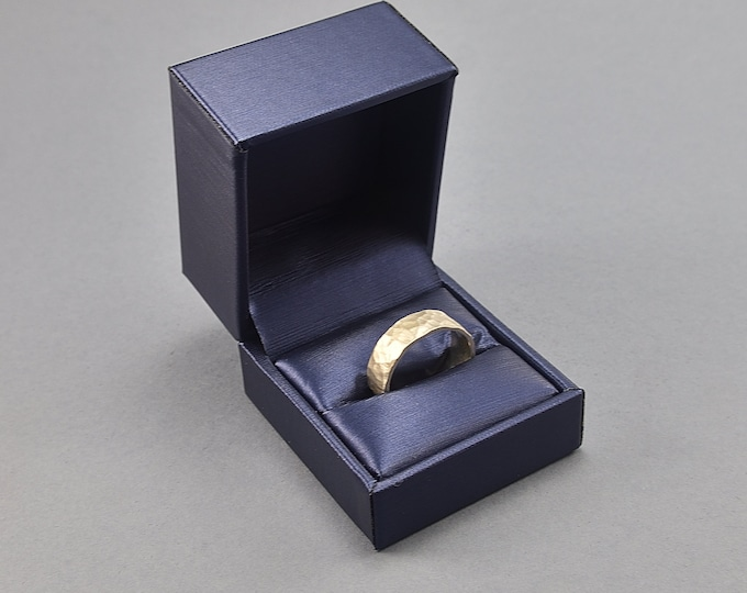 Classic Blue Leather Ring Box. Ring Box of High Quality Leather Imitation Metallic Effect Blue
