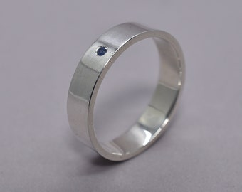 Men's Blue Sapphire Wedding Ring. Men's Sapphire Wedding Band. Silver and Blue Sapphire Wedding Band. Polished Finish
