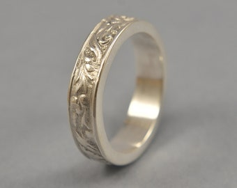 Silver Art Nouveau Ring. Vintage Floral Silver Wedding Band. Art Deco Floral Silver Ring. Polished Finish