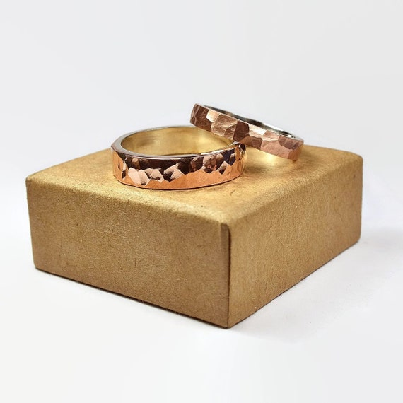 Mens Hammered Copper And Sterling Silver Wedding Ring Set Etsy