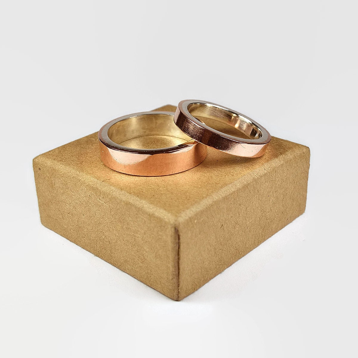Mens Copper And Sterling Silver Wedding Ring Set Copper Wedding