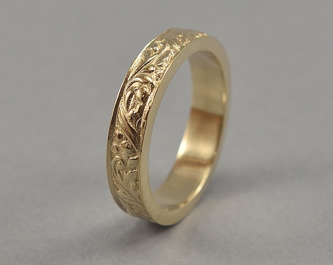 Brass Art Nouveau Ring. Vintage Floral Brass Wedding Band. Art Deco Floral Brass Ring. Polished Finish
