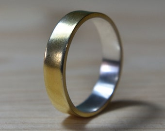 Mens Gold Plated Sterling Silver Wedding Band. Unisex Gold Plated and Silver Wedding Ring. 6mm Mens Gold Plated Wedding Band Rings