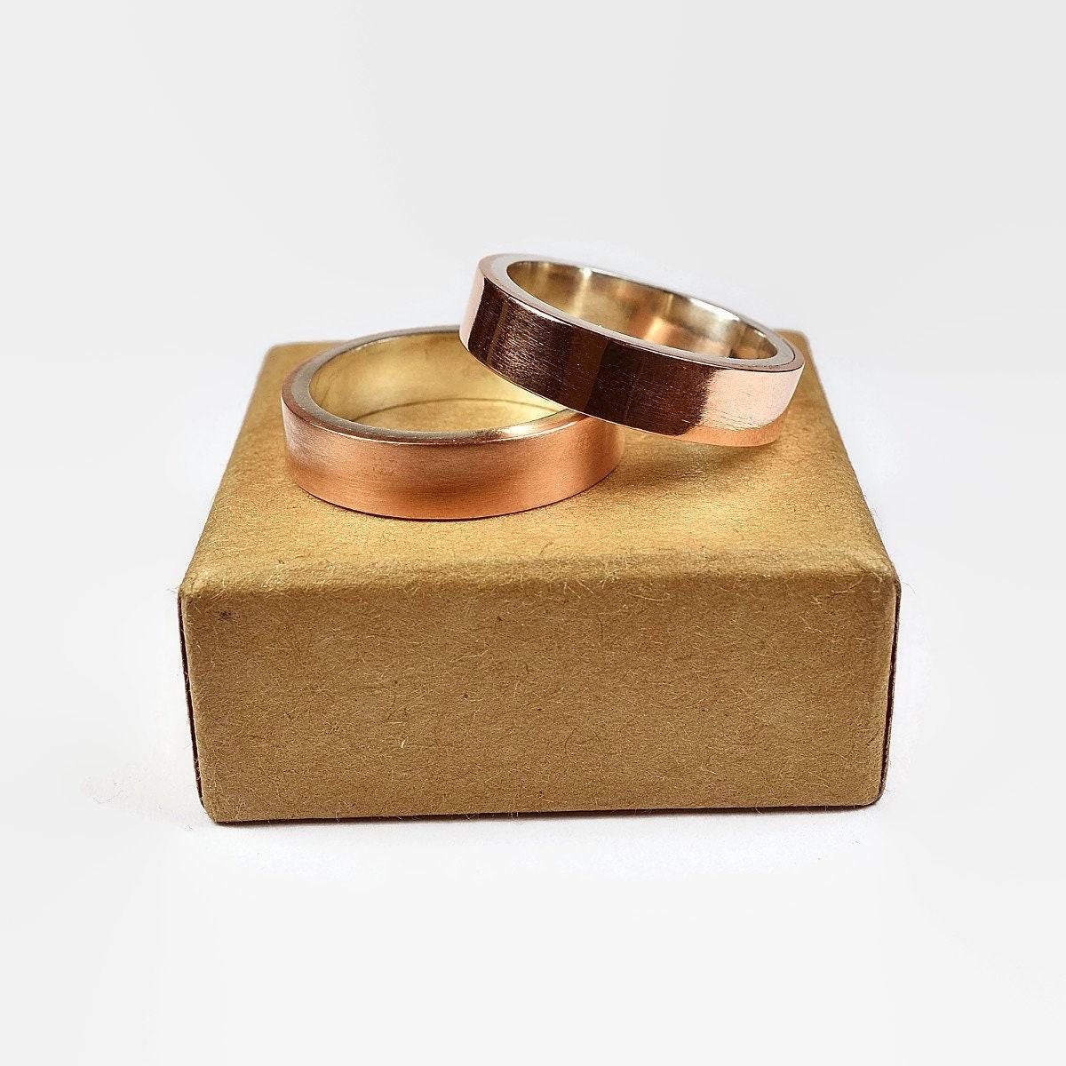 Mens Copper Wedding Band Ring Set Modern Style Flat Shape 6mm