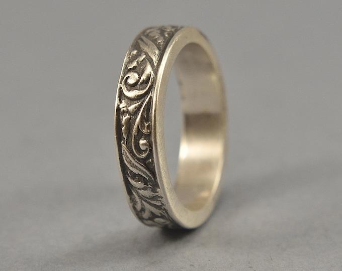 Antique Floral Silver Wedding Band. Vintage Silver Art Nouveau Ring. Art Deco Floral Silver Ring. Antique Finish