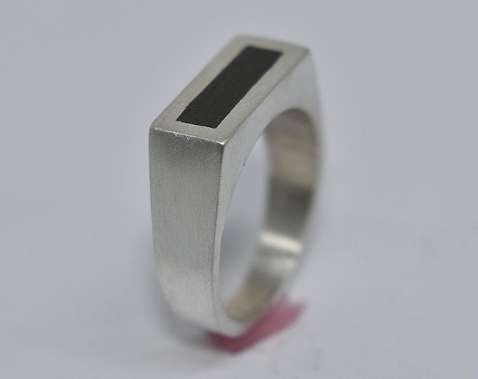 Mens's Silver Signet Ring. Minimalist Silver Ebony Ring. Engraved Signet Ring for Men. Matte Finish