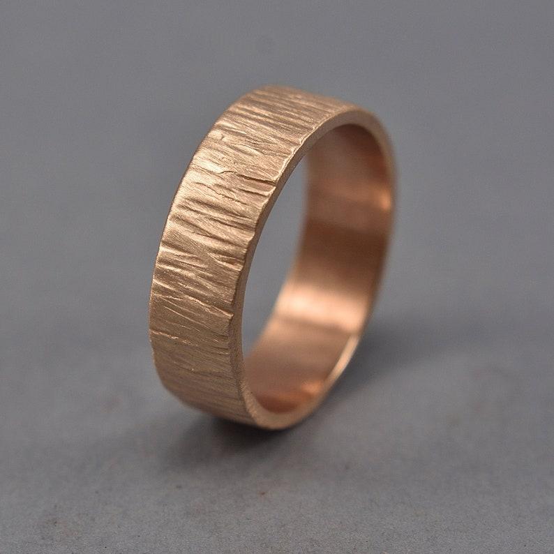 Men's Rustic Wedding Band. Tree Bark Red Bronze Ring. image 0