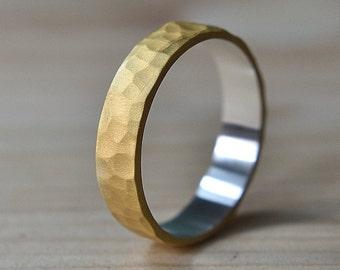 Mens Hammered Gold Wedding Rings. Mens Gold Plated Ring. 6mm Mens Gold Plated Wedding Ring. Hammered Gold Ring Mens