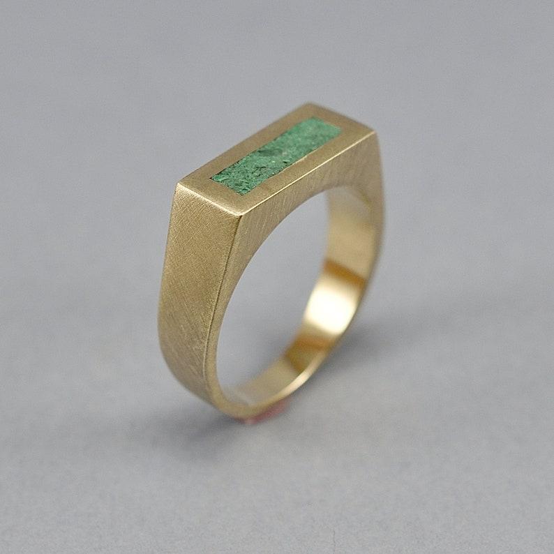 Vintage Malachite and Brass Ring Men Men's Green image 0