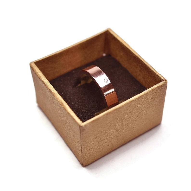 Engagement Wedding Ring Set Cubic Zirconia Rings Copper Engagement Copper Ring Set Wedding Band Ring Set Modern Copper Wedding Band Ring 6mm