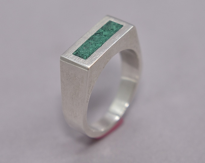 Modern Malachite and Silver Ring Men, Men's Green Malachite and Sterling Silver Geometric Ring, Malachite Inlay Ring Polished finish