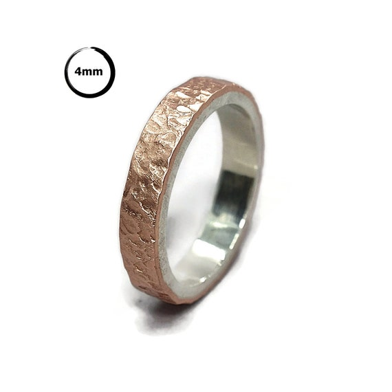 Meteorite Matte Copper And Silver Wedding Band Ring Moon Etsy