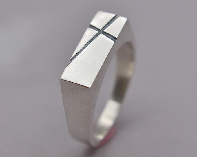 Men's Custom Lines Silver Ring. Personalized Signet Silver Ring with Lines. Signet Polished Ring. Signet Ring for Men. Gift for Husband