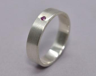Men's Ruby Ring, Silver Ruby Ring, Men's Ruby Wedding Band, Silver Wedding Band