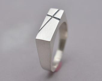 Men's Cross Signet Silver Ring. Custom Signet Cross Ring. Personalized Cross Ring. Matte Finish Cross Ring