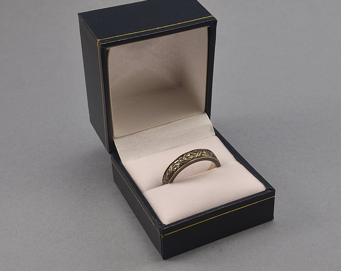 Elegant Blue Leather Ring Box. Luxurious Blue Ring Box with Golden Embellished