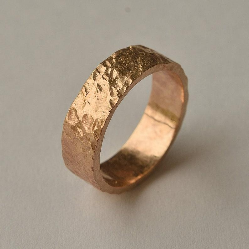 Red Bronze Volcanic Ring  Bronze Rustic Wedding Ring  Custom image 0