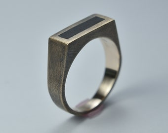Antique Brass Signet Ring. Antique Ebony Signet Ring. Antique Brass and Wood Signet Ring
