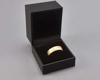 Elegant Black Leather Ring Box. Modern Ring Box made Imitation Leather in Black Color